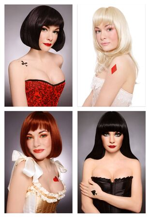 Four various looks of the same beautiful girl with make-up and body-art styled as playing card queens photo