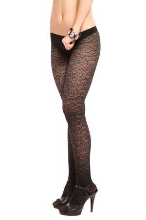 Legs of slim sexy woman in black pantyhose and stilettos on white background photo