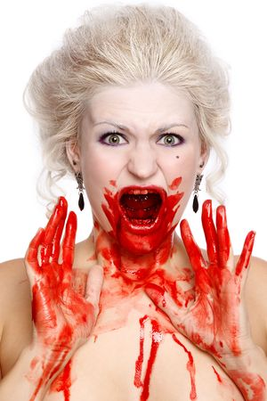 woman screaming: Portrait of blond bloody crying woman with old-fashioned hairstyle