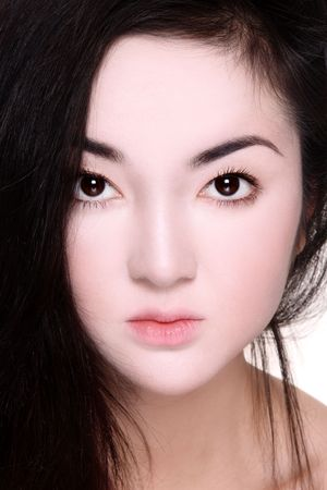 Close-up portrait of beautiful asian girl with fancy make-up photo
