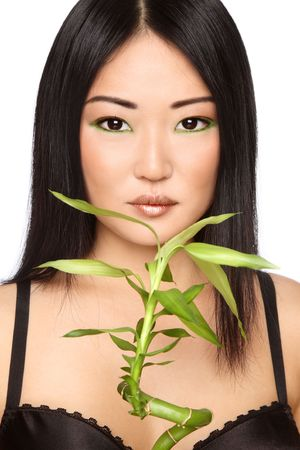 Beautiful young asian girl with green bamboo, on white background photo