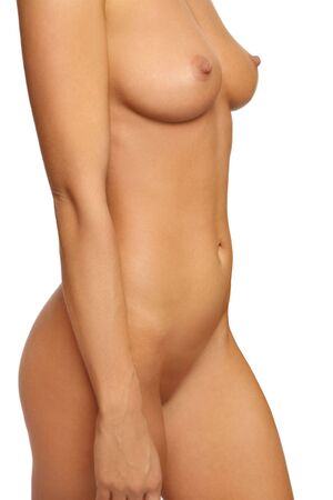 naked breast: Beautiful slim tanned sexy naked woman torso over white background
