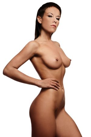 Black and white colored image of exotic slim sexy naked woman over white background photo