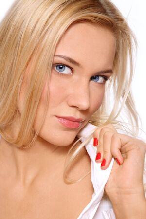 pretty blonde girl: Portrait of beautiful blonde tanned blue-eyed scandinavian girl with clear make-up