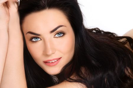 glamorous: Portrait of young stylish beautiful sexy smiling brunette