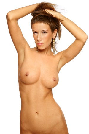 Beautiful slim sexy naked woman over white background photo