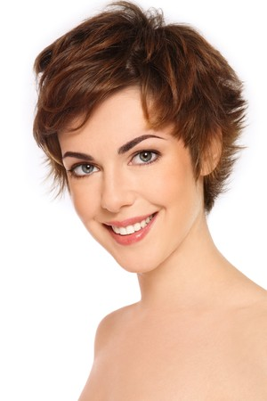 Portrait of young happy smiling fresh woman with clear makeup Stock Photo - 6935169