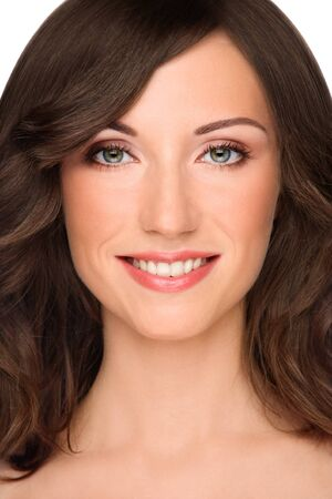 Close-up portrait of young healthy smiling fresh woman with clear makeup Stock Photo - 7170461