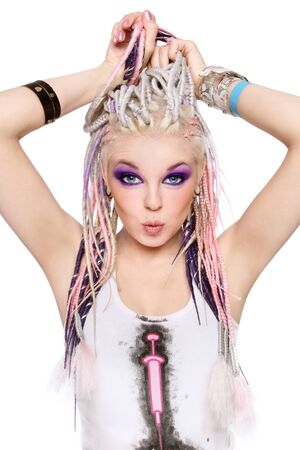 freaky: Young beautiful happy girl with stylish make-up and dreads Stock Photo