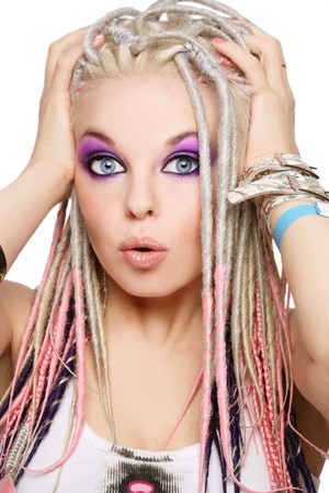 Portrait of young beautiful shocked girl with stylish make-up and dreads Stock Photo - 7211835