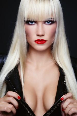 Beautiful sexy young blond woman with stylish make-up Stock Photo