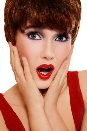 Portrait of beautiful stylish woman with shocked expression Stock Photo - 7716118