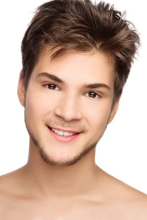 male grooming: Portrait of young handsome healthy smiling man, on white background