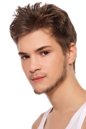 sexy guy: Portrait of young handsome man on white background