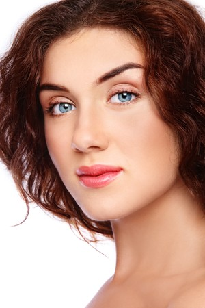 Close-up portrait of young beautiful blue-eyed girl with clear healthy skin Stock Photo - 7817593
