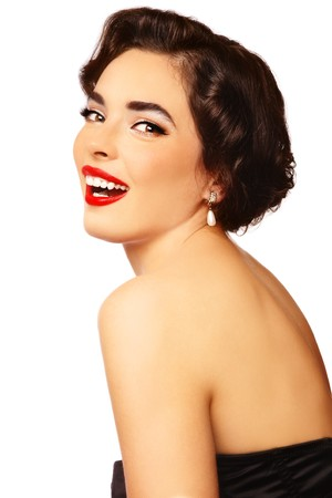 Emotional portrait of young beautiful sexy stylish laughing woman, on white background Stock Photo