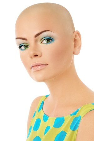 bald girl: Young beautiful skinhead woman with fresh stylish make-up over white background