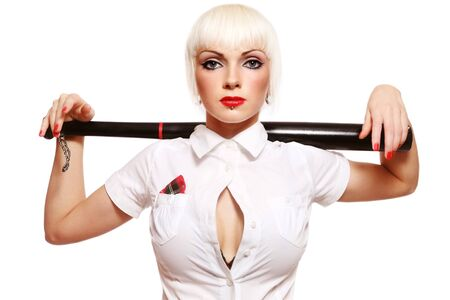 feminist: Beautiful young girl with baseball bat on white background Stock Photo