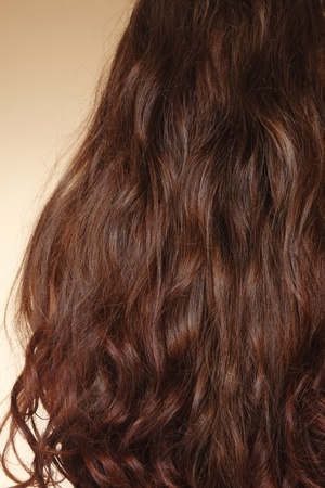 haircurlers: Close-up shot of long healthy shiny curly woman hair