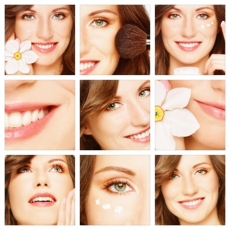 cosmetologies: Collage with young beautiful happy healthy smiling woman. Beauty, makeup and skin care