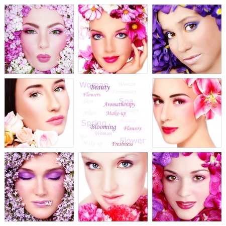 Collage with eight beautiful women with colorful flowers, copy space in center. Beauty, aromatherapy, make-up. Stock Photo