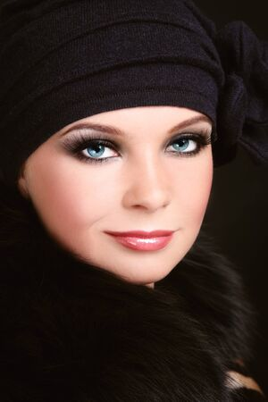 Portrait of young beautiful woman with smoky eyes Stock Photo
