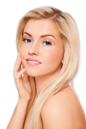beautiful blonde woman: Portrait of young beautiful fresh healthy smiling blond girl with natural clear make-up, on white background