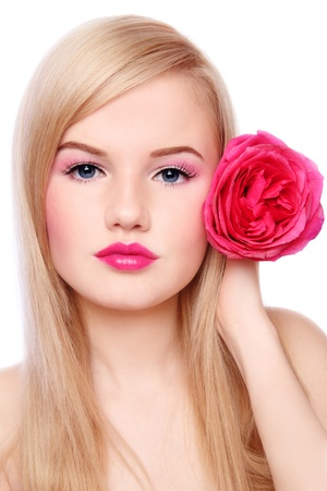Young beautiful blond girl with rose in hand, on white background Stock Photo - 9101992