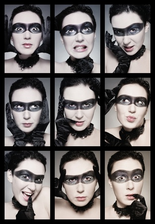 Duotone colored collage of nine emotional portraits of young grimacing woman with mask painted on her face photo