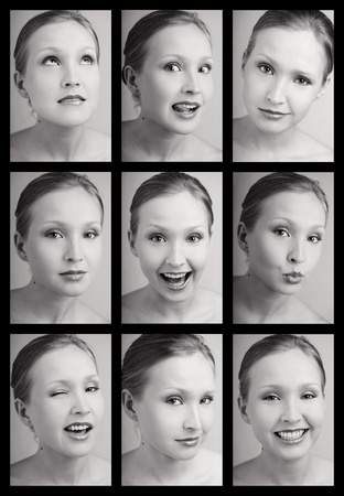 esitazione: Collage di due tonalit� di nove ritratti emotivi di giovane donna attraente con varie espressioni