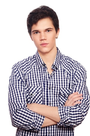 Portrait of young handsome friendly guy in casual clothes on white background Stock Photo - 9579674