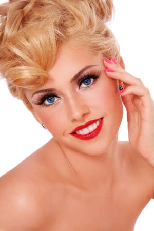 Portrait of young happy smiling blond girl with stylish make-up Stock Photo - 9915844