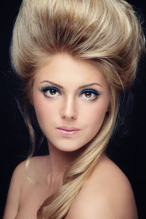 Portrait of young beautiful girl with stylish make-up and hairdo Stock Photo - 10882793