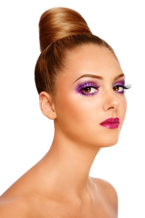 woman neck: Young beautiful girl with stylish violet make-up and hairdo, on white background