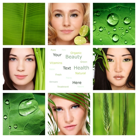 Collage with four beautiful healthy women, green leaves and plants. Organic skincare, beauty, health. Copy space. photo