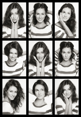 Collage with nine emotional portraits of young attractive woman with various expressions photo
