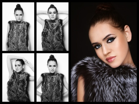 Collage with five images of young beautiful model in fur outfit photo