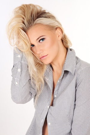 messy hairstyle: Young beautiful sexy blond woman with messy hairstyle