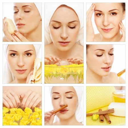 cleanse: Collage with young beautiful happy healthy woman having spa treatment. Beauty, hygiene and skin care