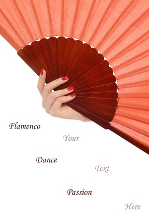 carmen: Womans hand with flamenco fan on white background, copy space below Stock Photo