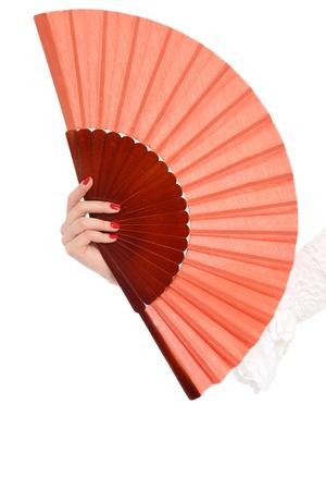 La mujer de la mano con el aficionado al flamenco más de fondo blanco Foto de archivo - 12325285