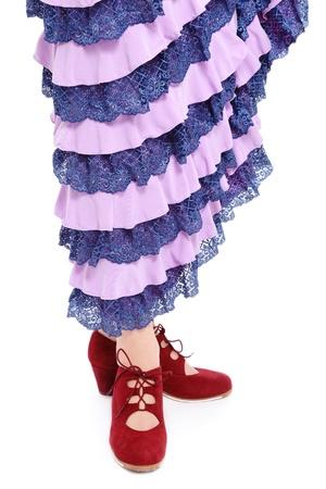 Piernas de bailarina de flamenco en el vestido y los zapatos en el fondo blanco Foto de archivo - 12325289