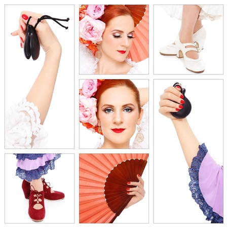 Collage with seven shots of flamenco accessories and dancer on white background. Passion, dance, entertainment. photo