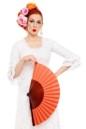Humorous portrait of flamenco dancer with surprised expression, on white background Stock Photo - 13425945
