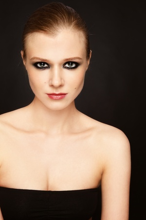 Young beautiful slim model with smoky eyes Stock Photo - 13425954