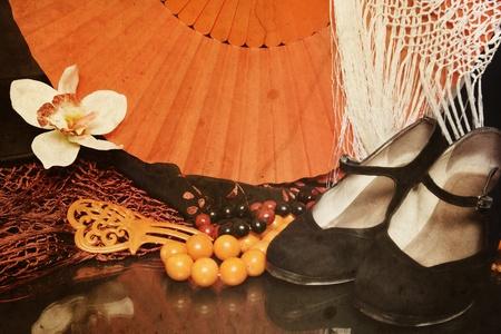 Naturaleza muerta con brillantes accesorios de flamenco en la vendimia de fondo dañado granulada. Zapatos, el pelo de flores, ventilador, collares, un peine y un chal Foto de archivo - 13425980