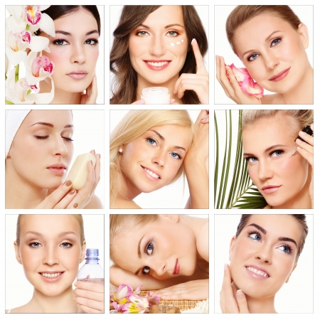 Collage with nine beautiful healthy happy women of different age having beauty treatment. Beauty, health, skincare.  Stock Photo