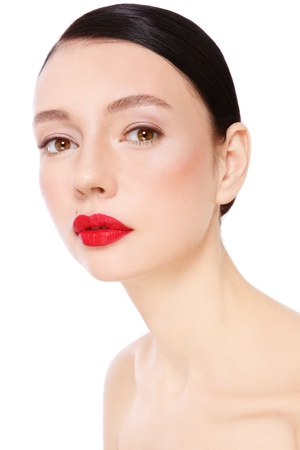 Portrait of young beautiful woman with red lipstick over white background Stock Photo - 14496545
