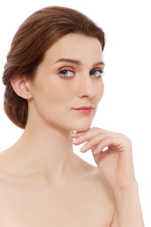 Portrait of young beautiful healthy woman touching her face, on white background Stock Photo - 15032582