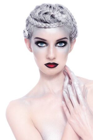 Young beautiful sexy woman with stylish fancy make-up and silver hair on white background Stock Photo - 15278849